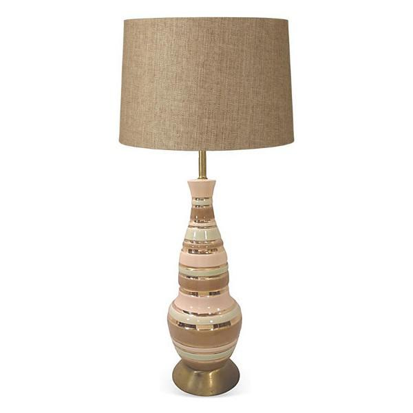 Mid-Century Pink, Green, and Gold Striped Ceramic Lamp - Image 3 of 3