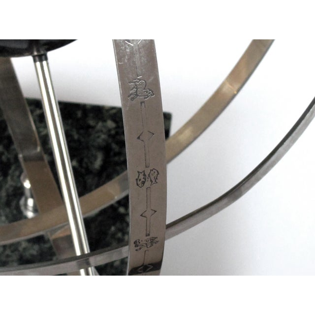 A Large-Scaled and Well-Rendered American 1980's Steel Astrological Zodiac Armillary For Sale - Image 4 of 7