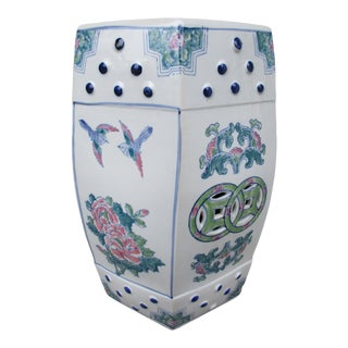 Chinoiserie Garden Stool -Bird and Floral Motif For Sale