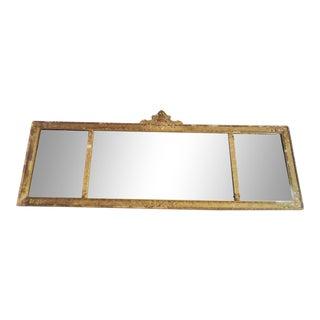 Antique Art Nouveau Wood and Gesso Mantle Mirror For Sale