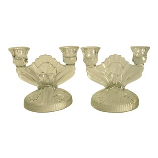 1940s Vintage Iris & Herringbone Glass Candle Holders- A Pair For Sale