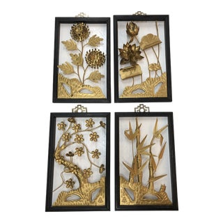 "Mid-Century Four Seasons ""Asian Style"" Brass Sculptural Panels - Set of 4 For Sale"