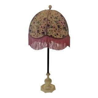 Vintage Candlestick Lamp With Pastel Flower Fringe Shade For Sale