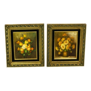 1970s Vintage Floral Still Life Paintings - A Pair For Sale