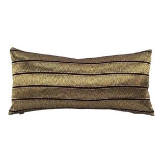 Ralph Lauren Ellington Stripe Tarnished Gold Lumbar Pillow Cover For Sale