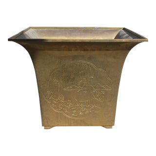 Large Vintage Chinoiserie Style Etched Brass Planter For Sale