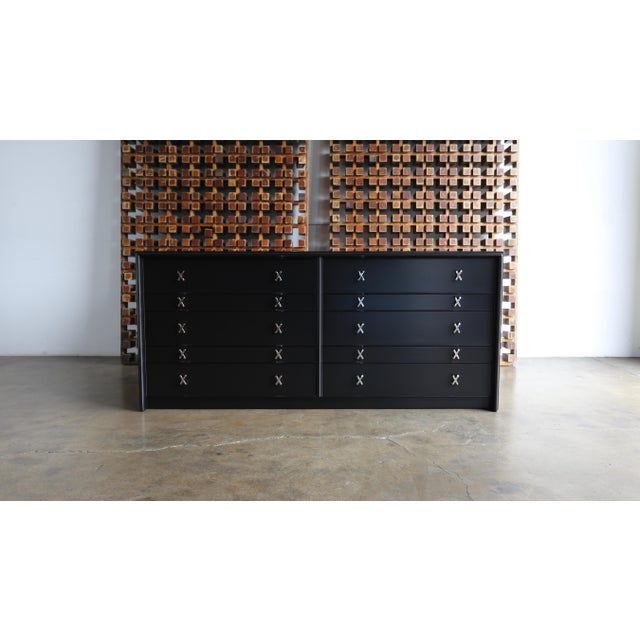 1950s Mid-Century Modern Paul Frankl for Johnson Furniture Company Ebonized Chest For Sale - Image 13 of 13
