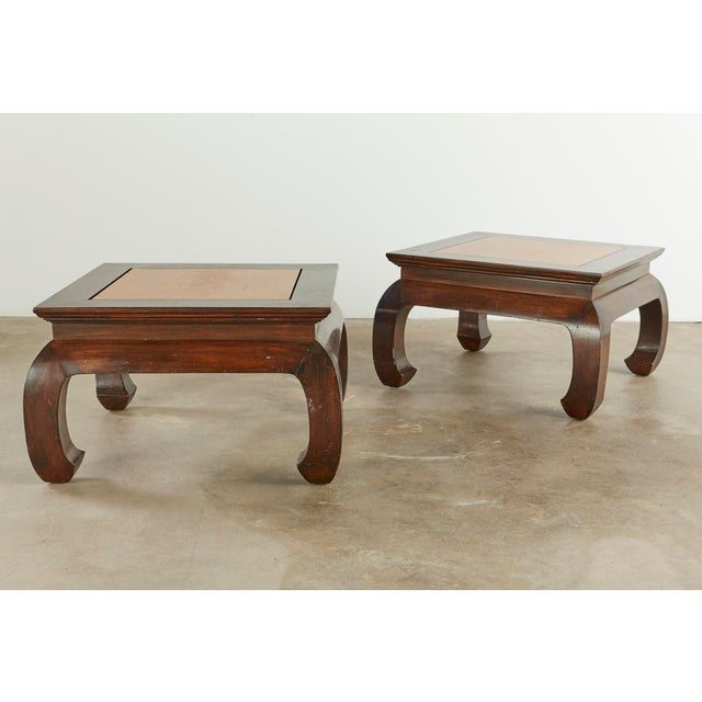 Wood Vintage Chinese Style Mixed Woods End Stands - a Pair For Sale - Image 7 of 7