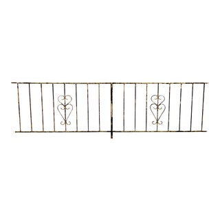 Vintage Gothic Wrought Iron Garden Fence For Sale