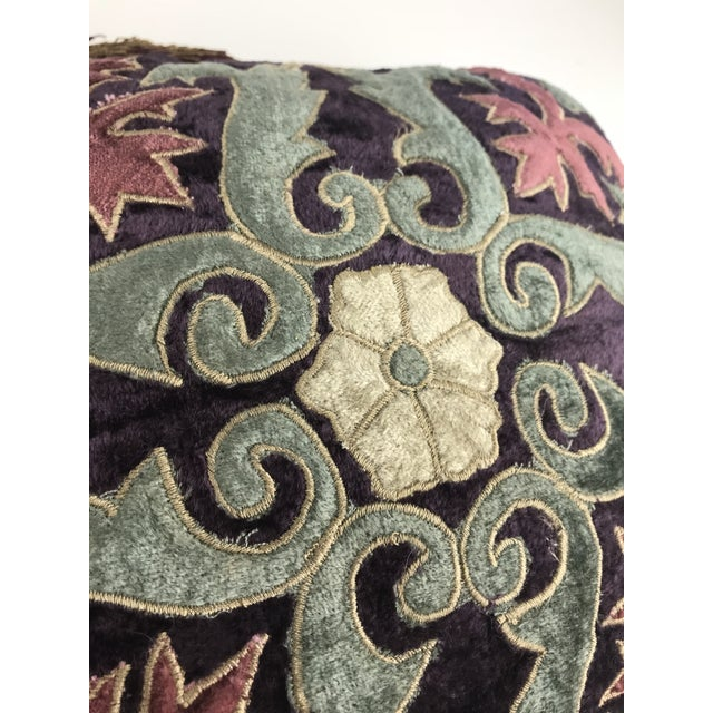 2010s Modern Embroidered Velvet Pillows - A Pair For Sale - Image 5 of 6