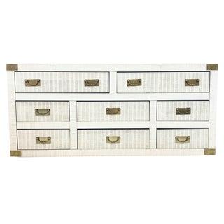 Midcentury Hollywood Regency Palm Beach White Wicker & Brass 8-Drawer Dresser For Sale