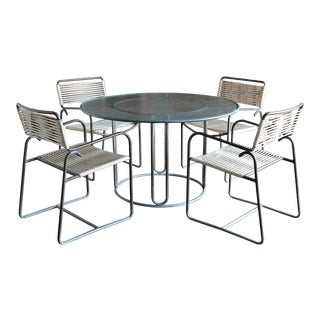 Walter Lamb Bronze Dining Set, Circa 1955 - Set of 5 For Sale