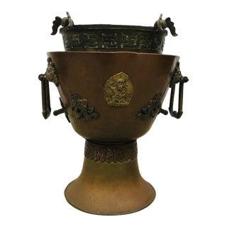Antique Asian Bronze Kuan Yin Dragon and Lion Handle Vase/ Pot For Sale