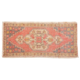 "Vintage Distressed Oushak Rug - 1'10"" X 3'8"" For Sale"