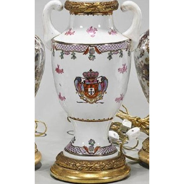 Asian Antique Chinese Armorial Crest Pottery Table Lamp For Sale - Image 3 of 4