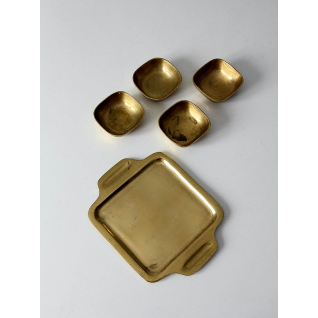 Metal Vintage Brass Tray With Dividing Bowls - Set of 5 For Sale - Image 7 of 10