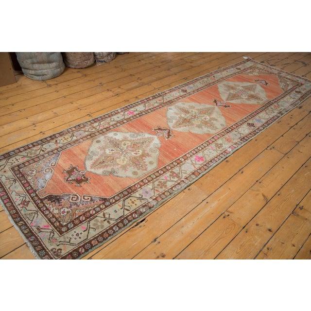 "Vintage Distressed Oushak Rug Runner - 3'5"" X 10'11"" For Sale - Image 11 of 13"