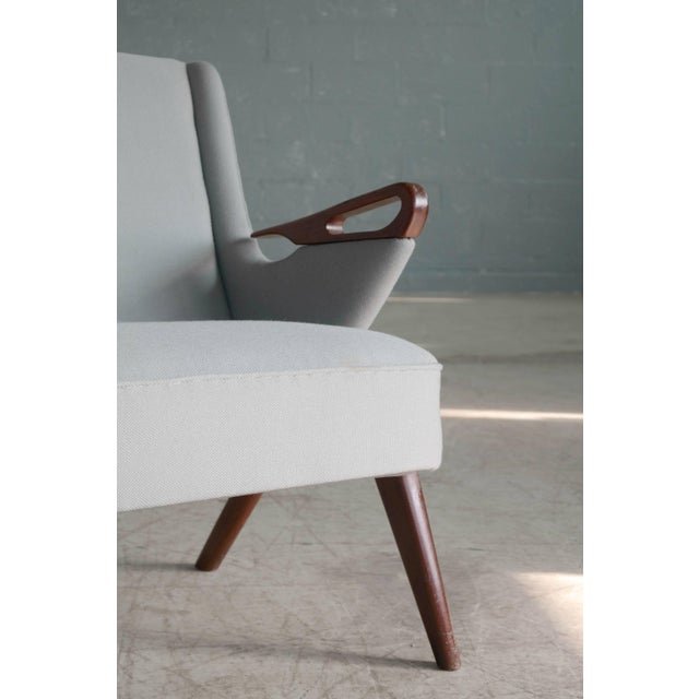 Sven Skipper Attributed 1950s Small Sofa in Wool and Teak Danish, Midcentury For Sale - Image 4 of 11