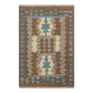 1990s Boho Chic Turkish Kilim Trang Brown/Blue Hand-Woven Rug For Sale