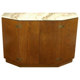 Bert England Appalachian Oak and Carrara Marble Console Cabinet For Sale