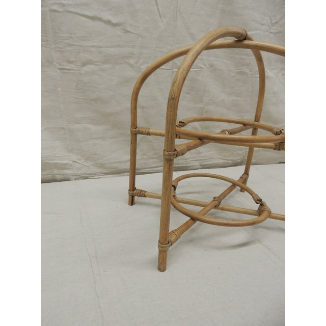 Late 20th Century Vintage Bamboo With Rattan Details Two Tier Serving Stand For Sale - Image 5 of 8
