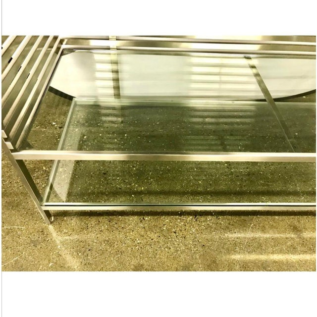 Mid-Century Modern Style Laser Cut Steel, Glass and Chrome Dry Bar For Sale - Image 10 of 13