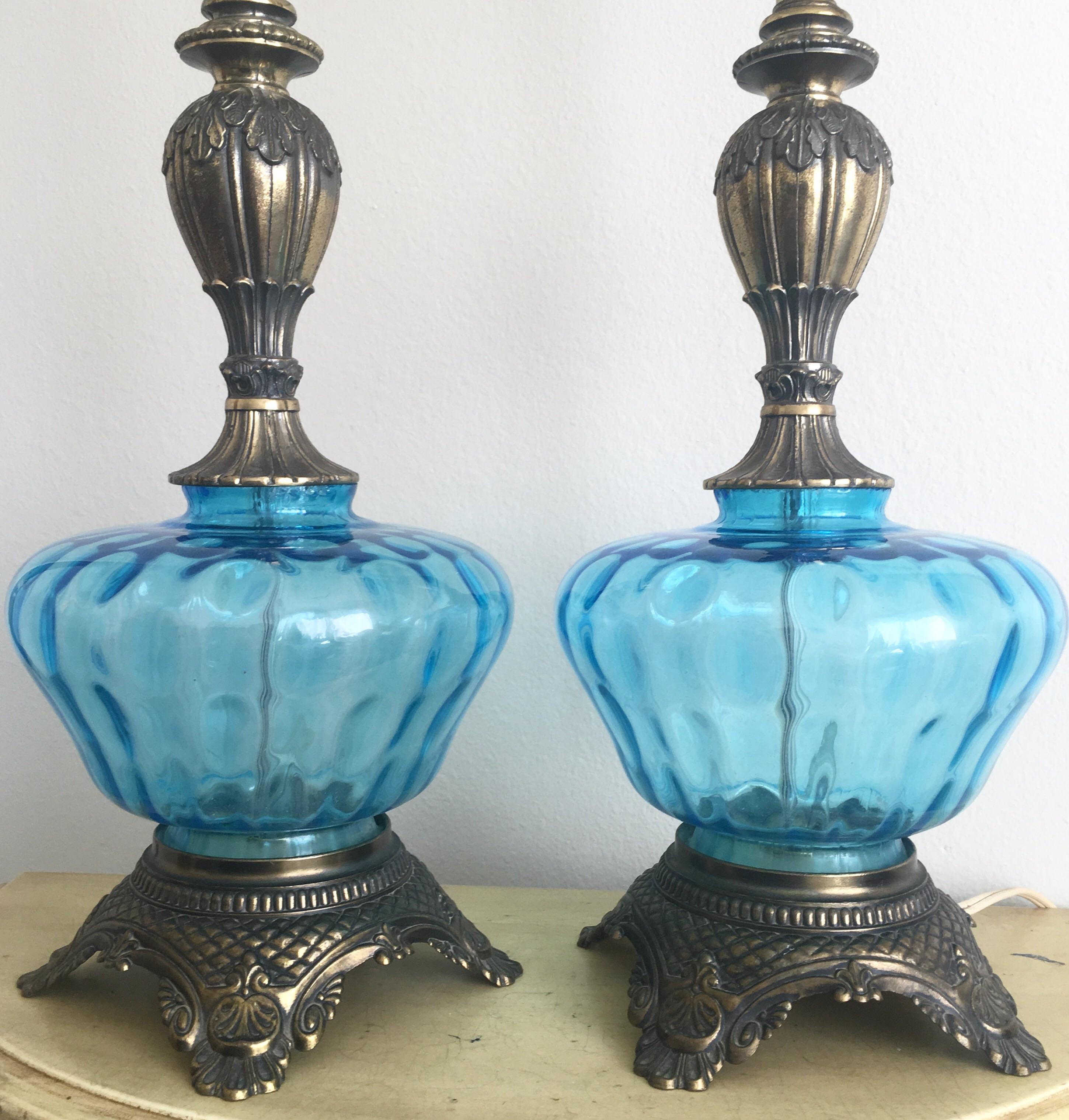 Hollywood Regency Vintage Blue Glass Lamp   Pair   Image 5 Of 9