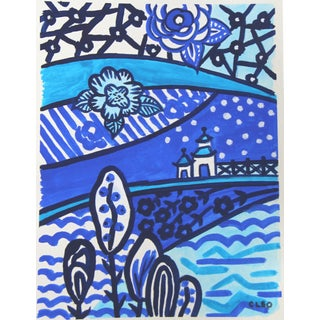 Chinoiserie Blue Landscape Painting by Cleo Plowden For Sale
