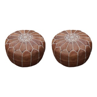 Modern Dark Tan Moroccan Handmade Leather Pouf - a Pair For Sale