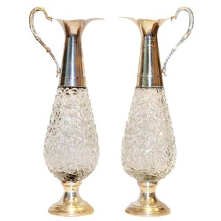Vintage Italian Glass & Silver-Plated Pitchers - a Pair For Sale