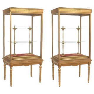 French Neoclassical Giltwood Standing Cabinets or Vitrines - a Pair For Sale