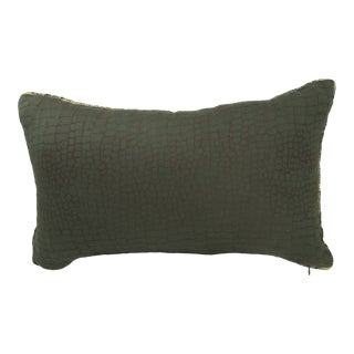 Designer Alligator Animal Print Lumbar Accent Pillow For Sale
