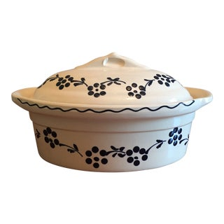 Sa - Traditional Alsation: Oval Pottery Casserole Dish and Lid - Alsace, France For Sale