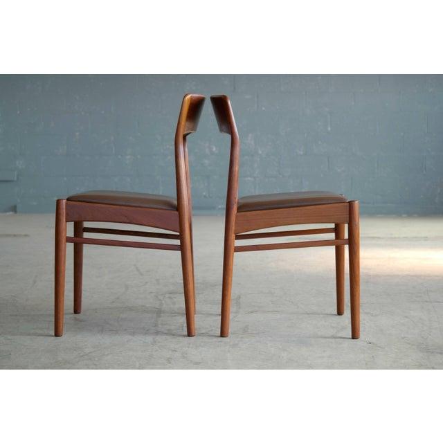 Animal Skin Set of Six Dining Chairs in Teak by Kai Kristiansen for k.s. Mobler Denmark, 1960s For Sale - Image 7 of 10
