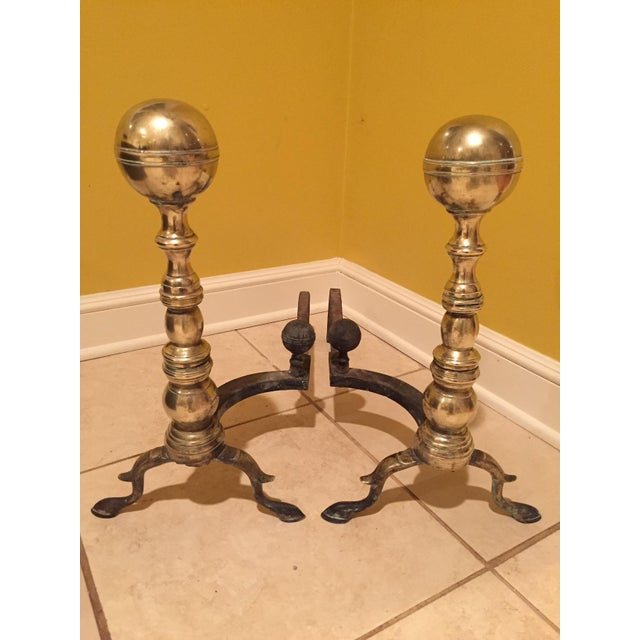 Traditional Traditional Polished Brass Andirons and Tool Set For Sale - Image 3 of 13