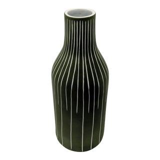 Jonathan Adler Inspired Olive Military Green Matte Finish Vase For Sale