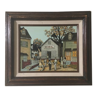 "Original H. Hargrove ""Schoolhouse W/ Children"" Oil Painting For Sale"