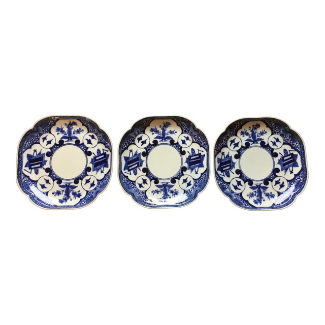 Edo Period Blue & White Japanese Dishes With Chenghua Marks - Set of 3 For Sale