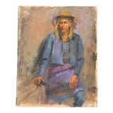 Image of Original Vintage Impressionist Female Portrait Painting For Sale