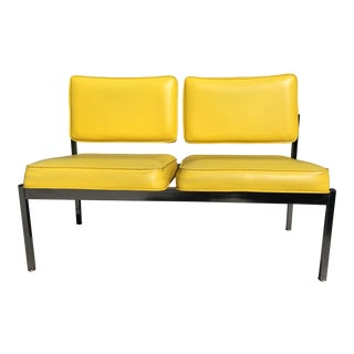 Retro Canary Yellow Loveseat Bench Office Vintage Mid Century For Sale