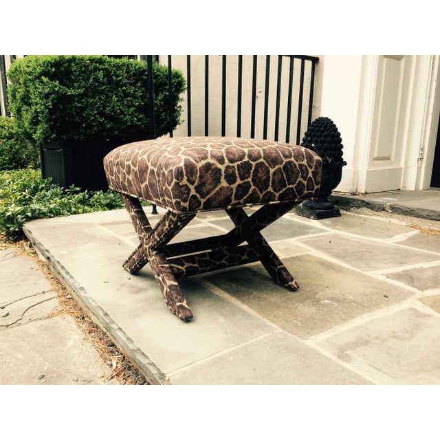 X-Form Faux Giraffe Benches - Pair - Image 2 of 3