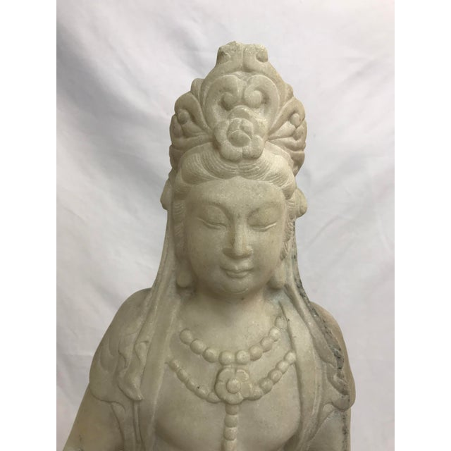 Guanyin / Guan Yin Bodhisattva Marble Goddess of Mercy Seated Buddha Statue For Sale - Image 4 of 12