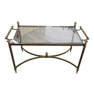 Antique Hollywood Regency LaBarge Brass & Glass Coffee Table For Sale