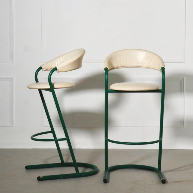Green Green Cantilever Tubular Bar Stools - Pair For Sale - Image 8 of 8