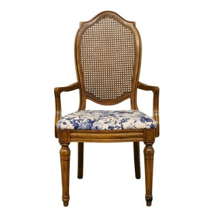 Thomasville Furniture Tapestry Collection Cane Back Dining Arm Chair For Sale