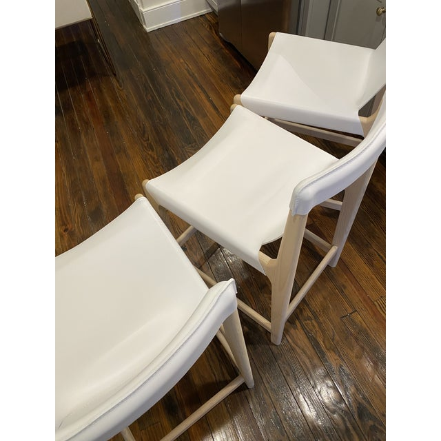 CB2 Burano White Leather Sling Counter Stools- Set 3 For Sale - Image 4 of 10