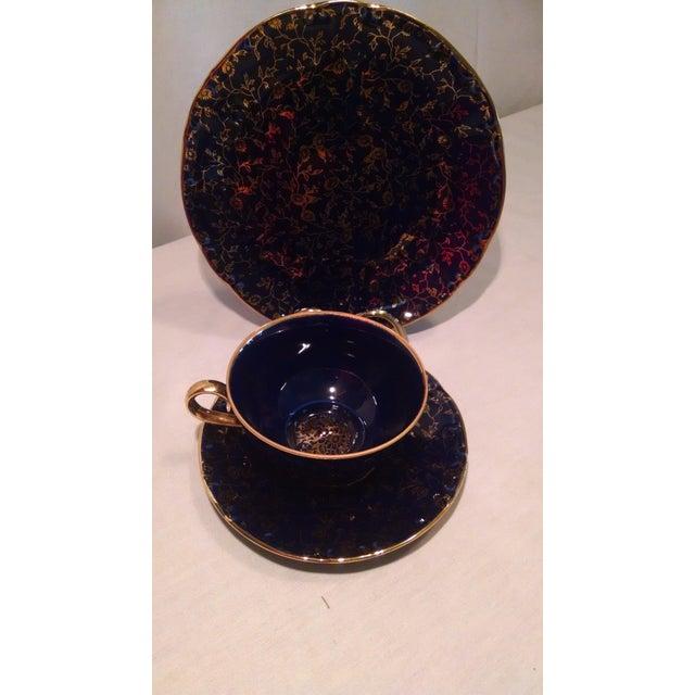 Ceramic Vintage German Teacup, Saucer & Salad Plate - Set of 3 For Sale - Image 7 of 8
