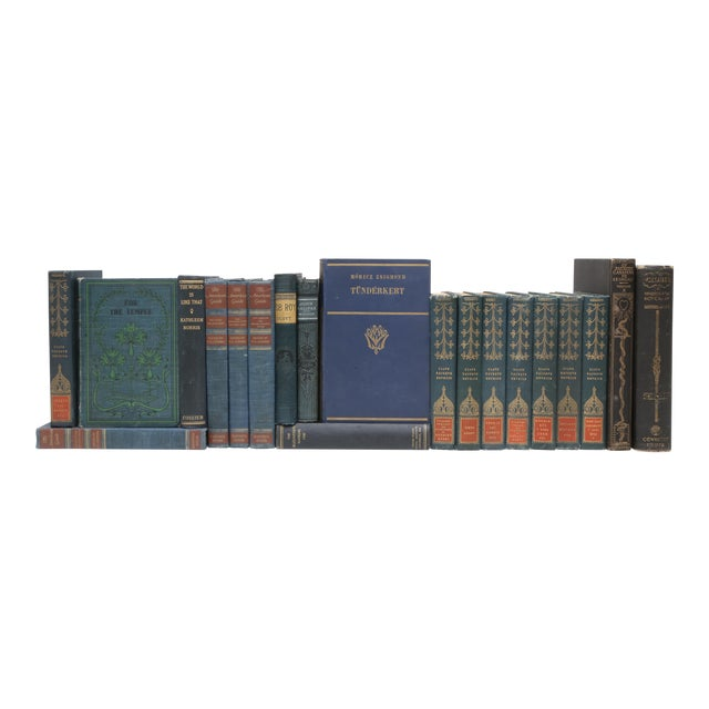 Mid Century Blue Navy and Forest Green - Set of 20 Decorative Books For Sale
