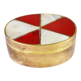 Mid Century Mother of Pearl and Stone Inlaid Solid Brass Oval Shape Pill Box / Snuff Box For Sale