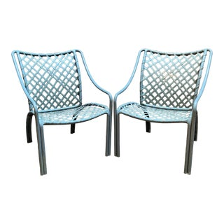 Vintage Blue Tamiami Brown Jordan Patio Chairs - A Pair For Sale